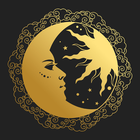 Moon and Sun in round frame. Vector illustration in retro style