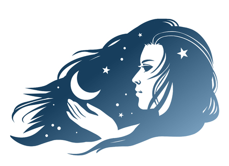 Silhouette of a beautiful young woman with a flowing hair and a moon in her hand. Vector hand drawing illustration