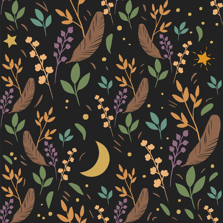 Illustration of seamless pattern in dark tones with eaves, branches and bird feathers Çizim