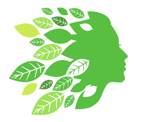 Silhouette of woman's face with green leaves on white background