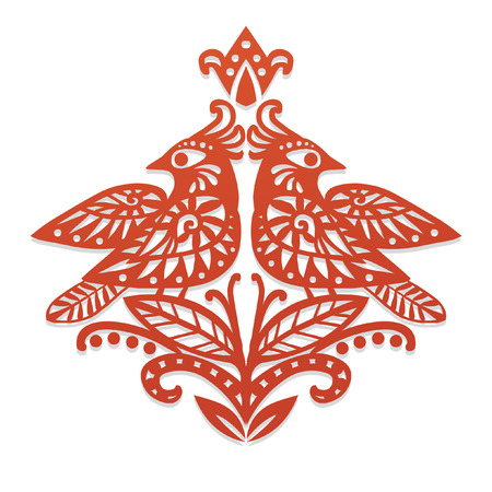 Two red birds sitting on branches. Decorative ornament based on traditional slavic paper cutting. Vector illustration