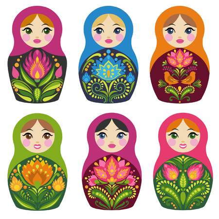 Matryoshka dolls. Russian souvenirs. Vector collection Stock Illustratie