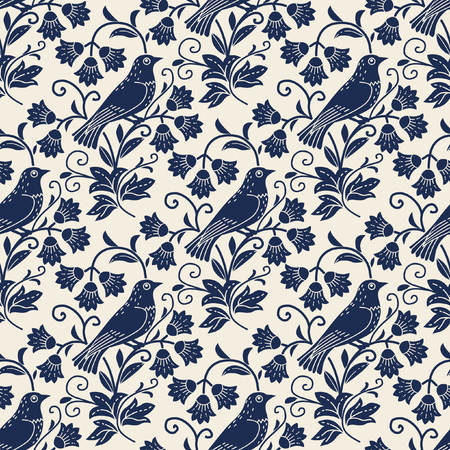 Pattern with songbird and flowers Illustration