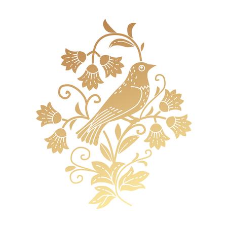 Bird sitting in the bush template