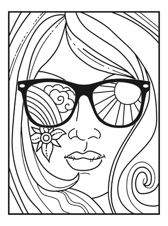 Vector illustration for adult coloring book in retro 70s style. Woman's face in sunglasses