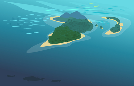 Top view on tropical islands. Vector hand drawing illustration