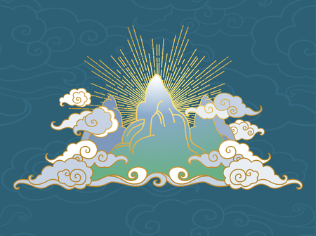 Mountains in clouds. Decorative graphic design element in oriental style. Vector hand drawing illustration