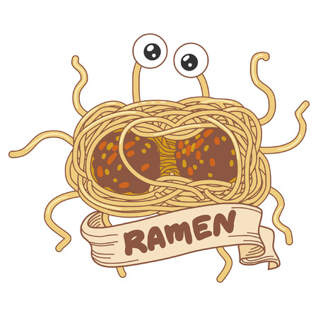 Flying spaghetty monster. Vector hand drawing illustration
