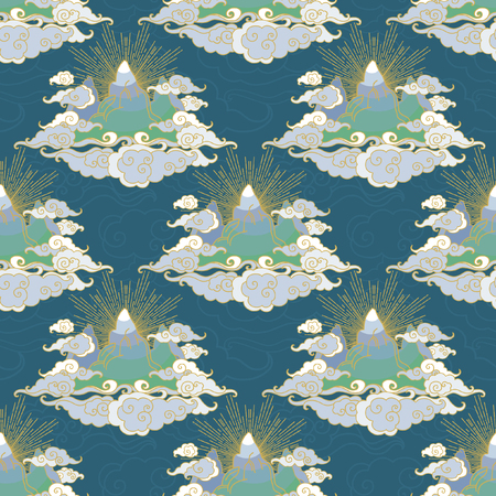 Mountains in clouds. Seamless pattern in oriental style.