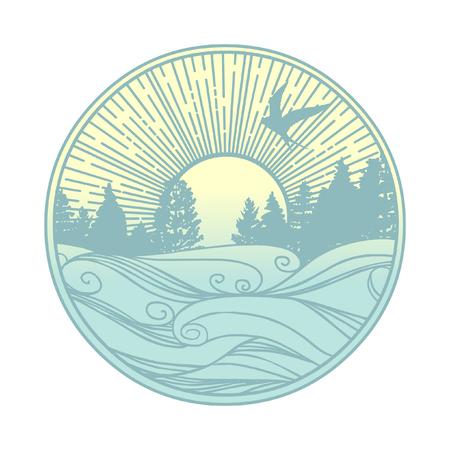Paisaje nórdico. Bosque de coníferas en la costa de un lago o río. Plantilla vectorial para logotipo, estampado de camisetas y otros diseños.