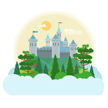 Medieval castle. Vector illustration in flat style. Vettoriali