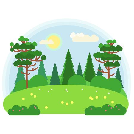 緑の牧草地。フラットスタイルのベクトルイラストレーション。
