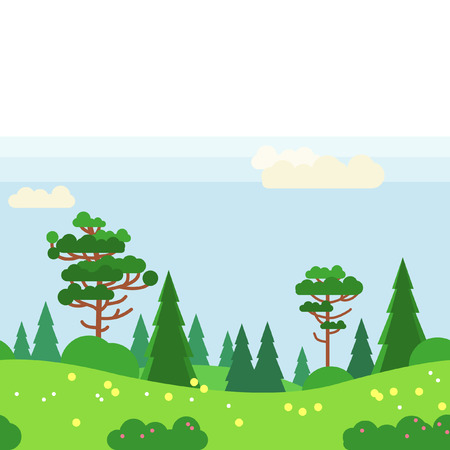 Green vector seamless pattern. Pine trees and bush, madows and hills Illustration