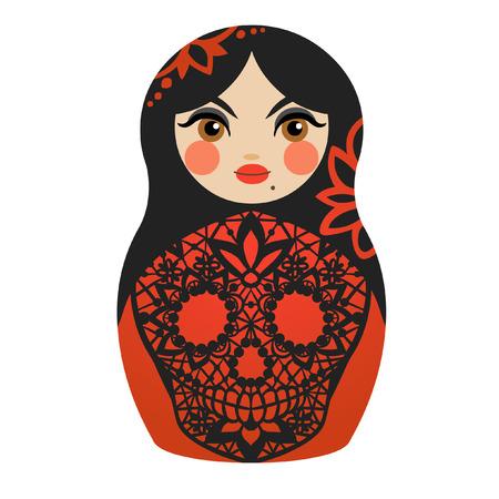 Red matryoshka doll. Vector illustration