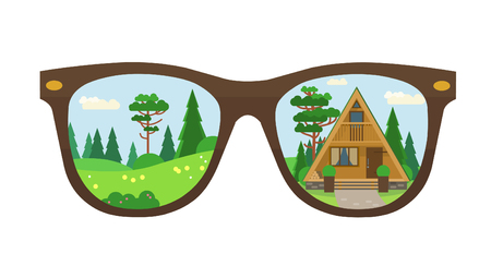 Cute a-frame house and beautiful landscape reflected in sunglasses. Vector illustration in flat style.