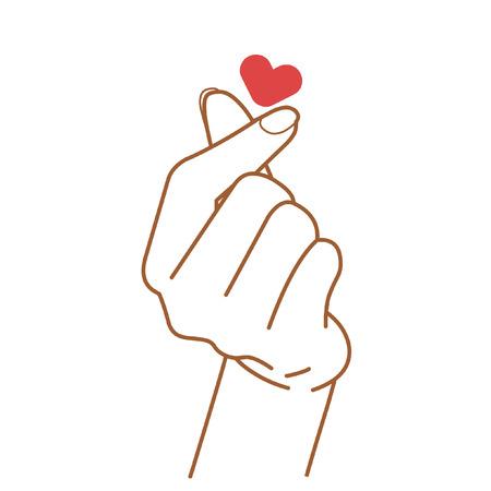 Signe d'amour. Illustration de dessin vectoriel main