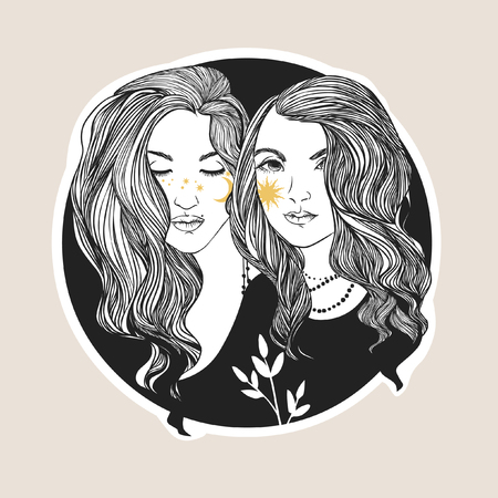Two pretty young women. Vector hand drawing illustration
