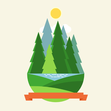 Group of coniferous trees, ribbon with place for your text. Vector illustration in flat style