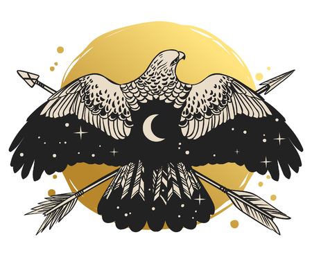 Soaring bird of prey. Vector hand drawn illustration. Template for temporary tattoo, t-shirt print and other