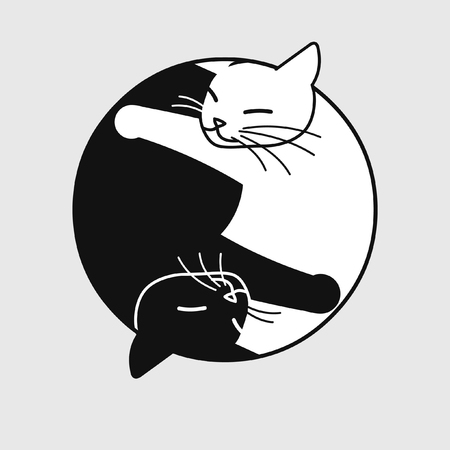Two cute sleeping cats. Vector illustration