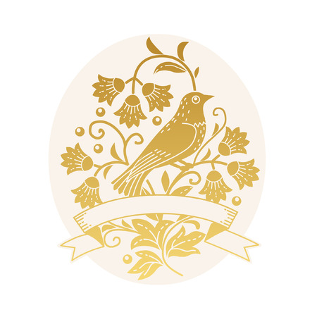 Bird sitting in the bush. Vector hand drawn illustration in vintage style