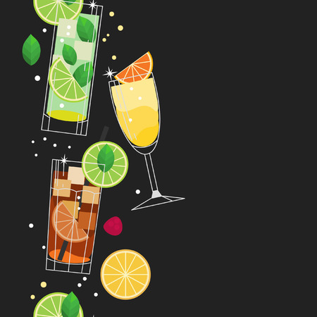 Summer cocktails. Vector