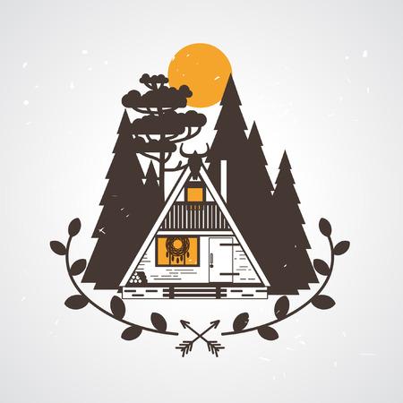 Piccola casa con struttura ad A per una strega moderna. Illustrazione vettoriale