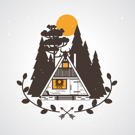 Tiny A-frame house for a modern witch. Vector illustration Çizim