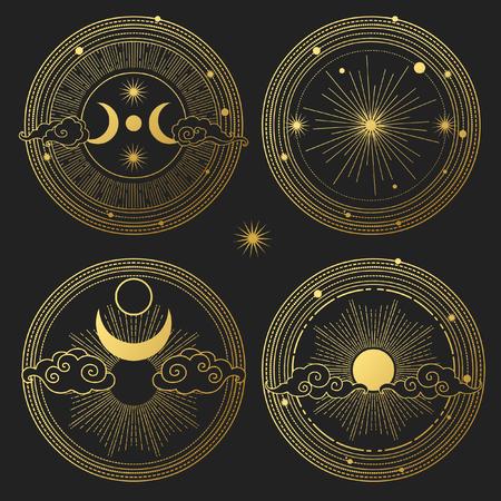 Set decoratieve ontwerpelementen. Maan, zon, planeten en sterren. Vector sjablonen. Vector Illustratie