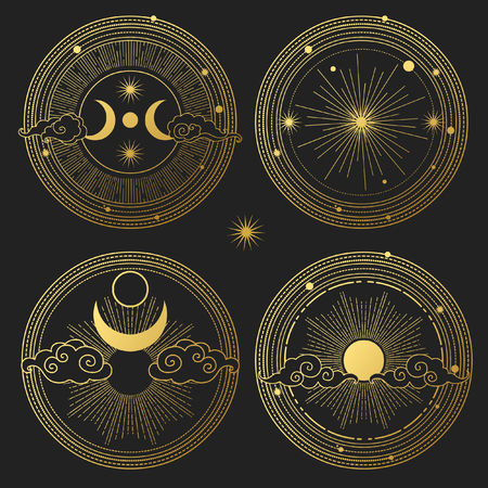 Set of decorative design elements. Moon, sun, planets and stars. Vector templates.