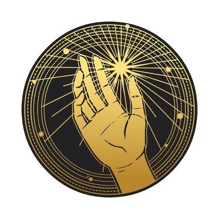 Human hand catching the star. Vector template for stickers, temporary tattoo and other designs
