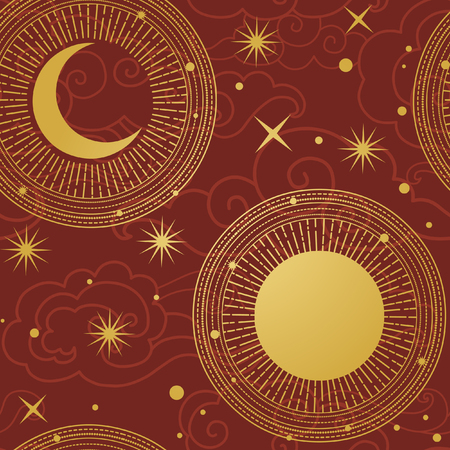 Sun and moon in starry sky. Vector hand drawn seamless pattern in oriental style Ilustrace