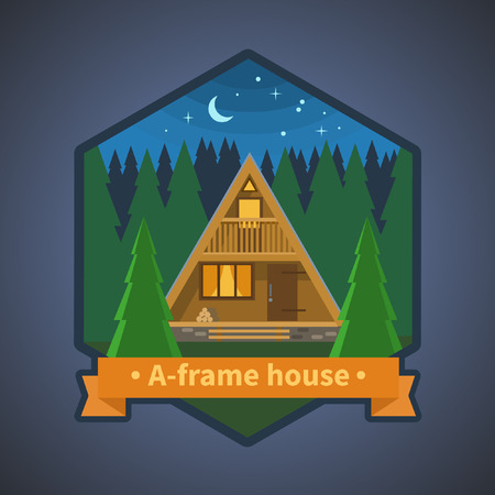 Tiny cabin in the forest. Vector illustration for stickers, logo, emblems Illustration