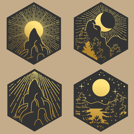 Collection of decorative graphic design elements in boho style. Sun, Moon, sky, forest, mountains. Vector hand drawing illustration Vektorové ilustrace