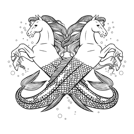 Mythical sea horses. Vector hand drawing illustration