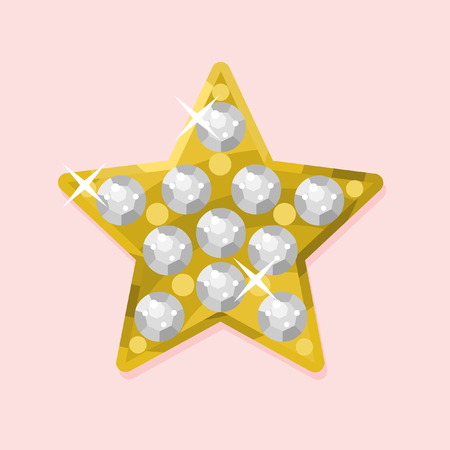 Vector hand drawn jewel on pink background. Five-pointed star with rhinestones