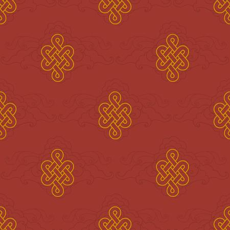 Modèle sans couture de vecteur avec symbole bouddhiste traditionnel de la fortune
