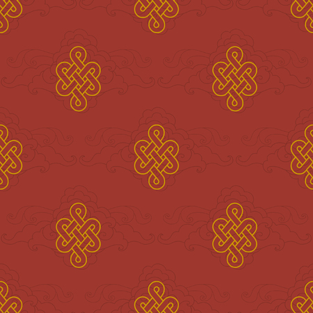 Vector seamless pattern with traditional buddhist symbol of fortune