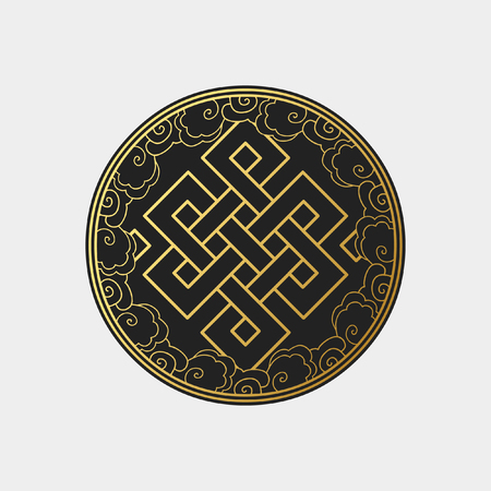 Traditional buddhist symbol of luck. Vector illustration Ilustração