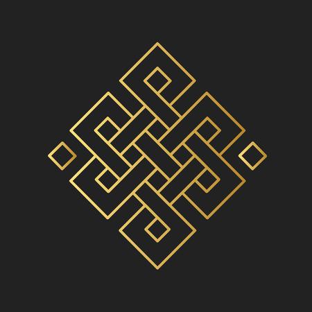 Símbolo budista tradicional de la suerte. Ilustración vectorial