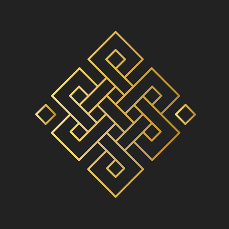 Traditional buddhist symbol of luck. Vector illustration Çizim