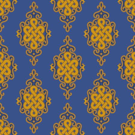 Vector seamless pattern with traditional buddhist symbol of luck