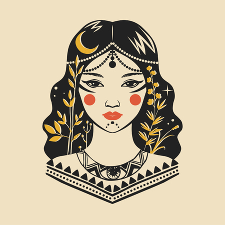 Portrait of pretty woman in exotic costume. Vector illustration Archivio Fotografico - 105454890