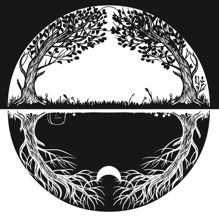 Circle of life. Vector hand drawing illustration Illustration
