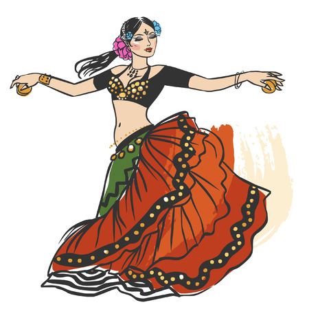 Pretty tribal dancer in motion on white background. Vector hand drawing illustration Ilustração