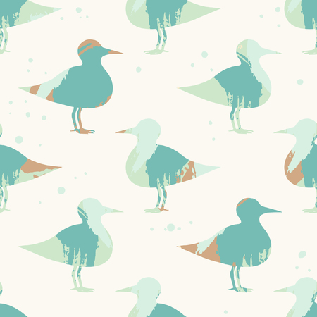 Cute woodcock. Vector seamless pattern