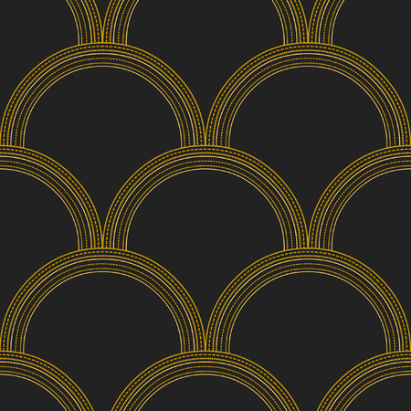 Vector seamless abstract pattern. Solid and dotted lines on black background