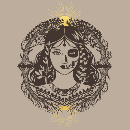 Allegory of life and death. Beautiful mysterious lady. Vector hand drawing illustration Illustration