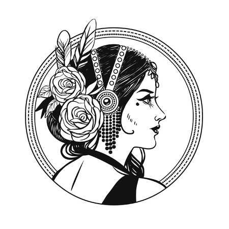 Pretty tribal dancer in a beautiful headpiece. Vector hand drawing illustration