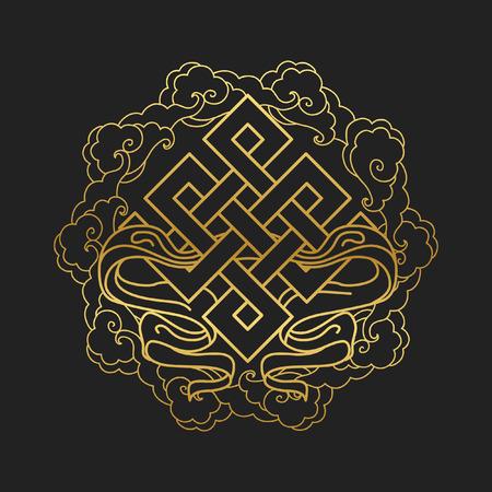 Símbolo budista tradicional de la suerte. Ilustración vectorial Ilustración de vector